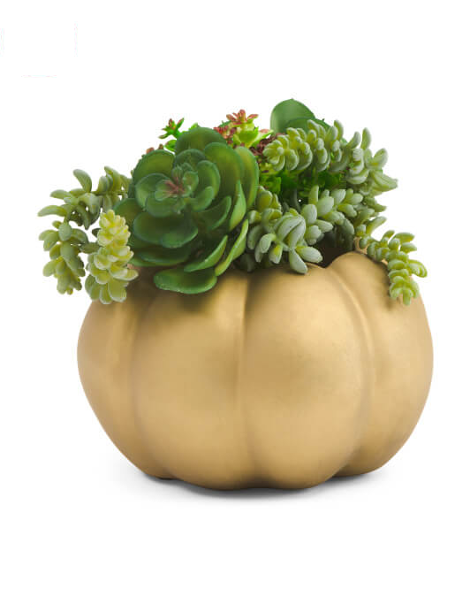 "8"" Faux Succulent Glitz Pumpkin Planter"