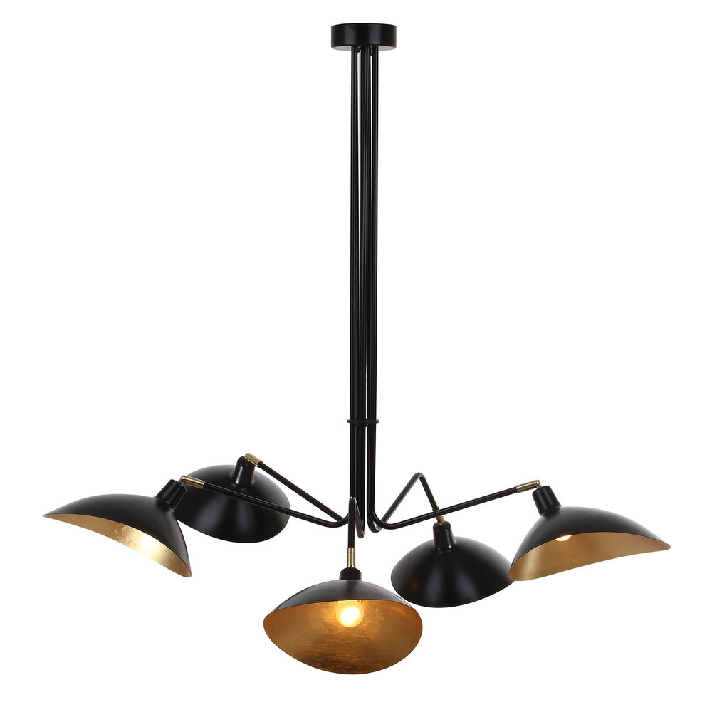Black & Gold 5-Light Pendant Light
