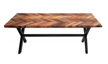 Rustic Edvard Herringbone Dining Table