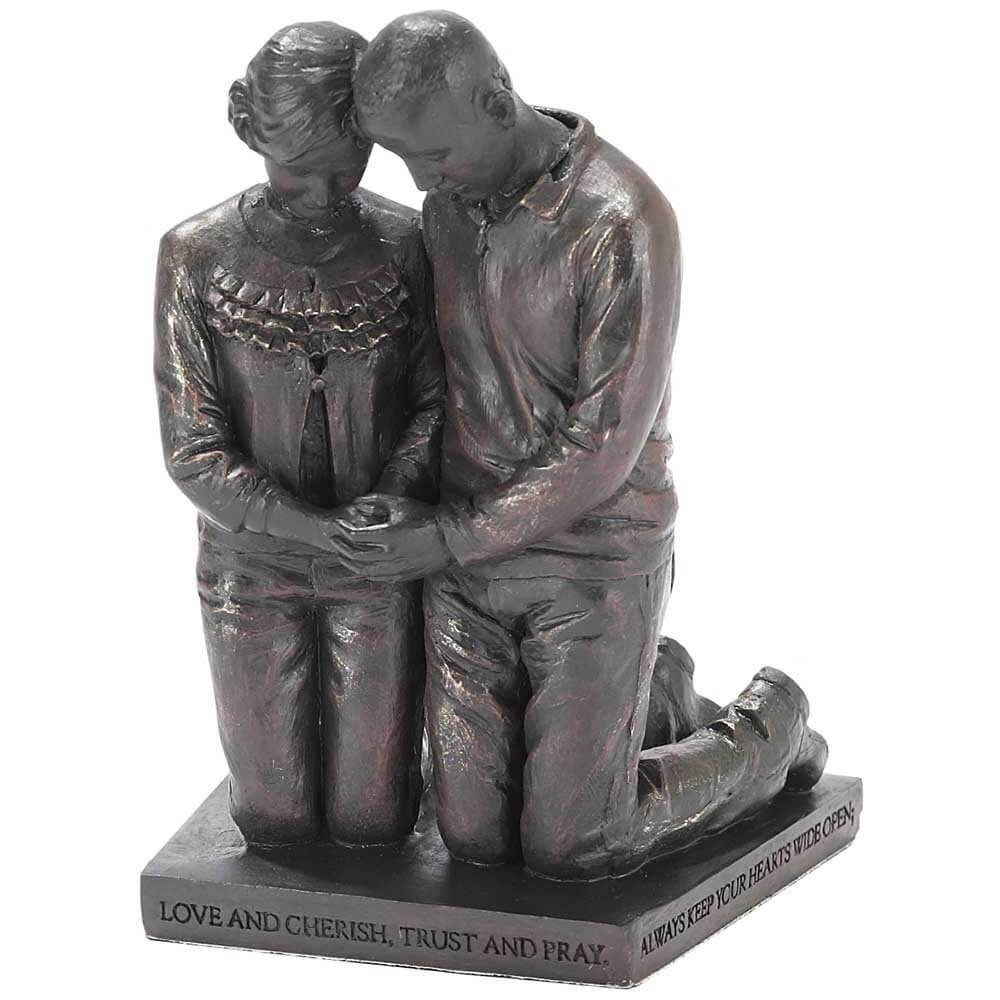 "Love Cherish Praying Husband Wife 5"" Gray Resin Stone Figurine 