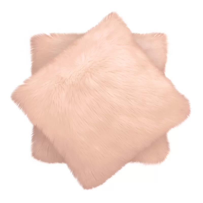Blush Faux Fur Set of 2 Pillows