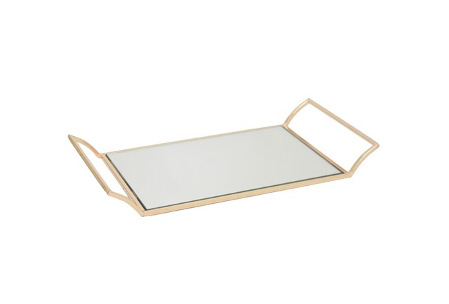 Rose Gold Metal Tray W/Mirror