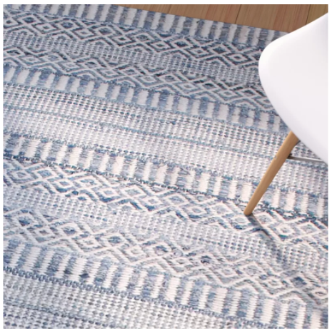 Firenze Hand-Woven Wool Ivory/Blue Area Rug