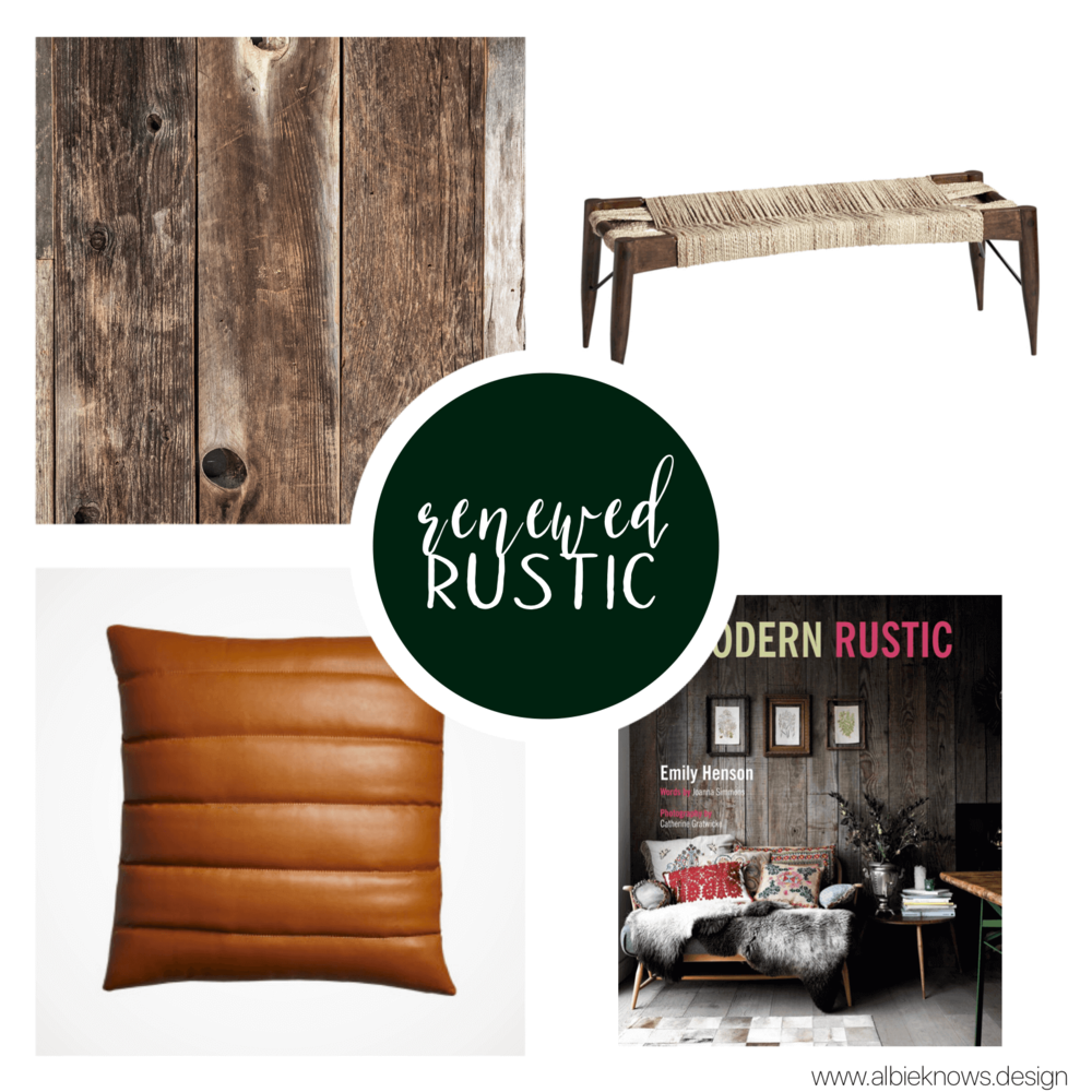 "You're inspired by the natural world and attracted to rugged design & worn materials, for a ""lived in"" feel. Weathered woods, natural textiles, and distressed metals all speak to your love of simple, home-grown charm.  You shop at  Birch Lane ,  Pottery Barn ,  Restoration Hardware ,  Hobby Lobby , and  Pier 1 Imports"