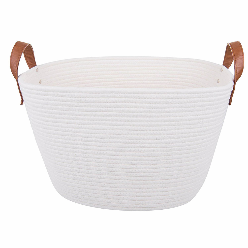 Woven Rope Storage Basket with Leather Handles in Off-White (Amazon)