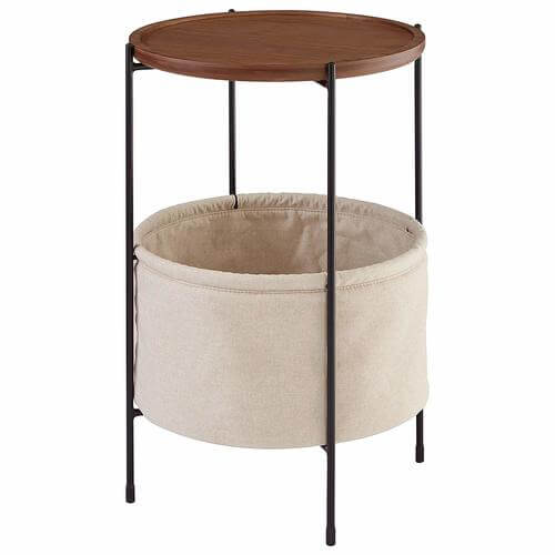 Meeks Round Storage Basket Side Table, Walnut and Cream Fabric