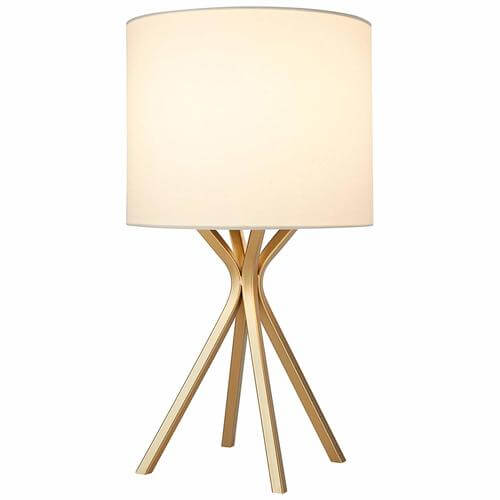 Gold Table Lamp, with Bulb, with Drum Linen Shade
