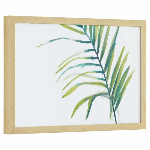 Modern Left Facing Palm Frond, Wood-Tone Frame