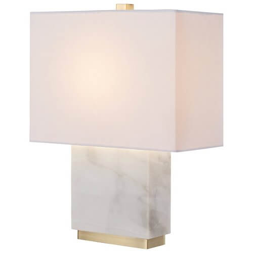 : Mid-Century Marble and Brass Table Lamp, with Bulb