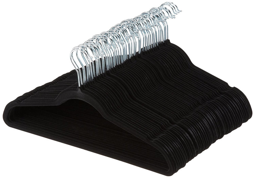 Velvet Suit Hangers - 50-Pack, Black (and Gray)
