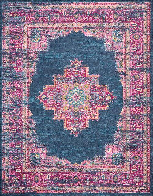 Passion Distressed Vintage Blue Area Rug