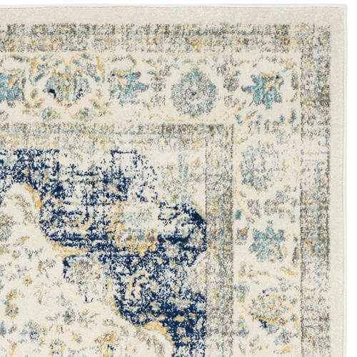 Evoke Collection Vintage Oriental Ivory & Blue Area Rug