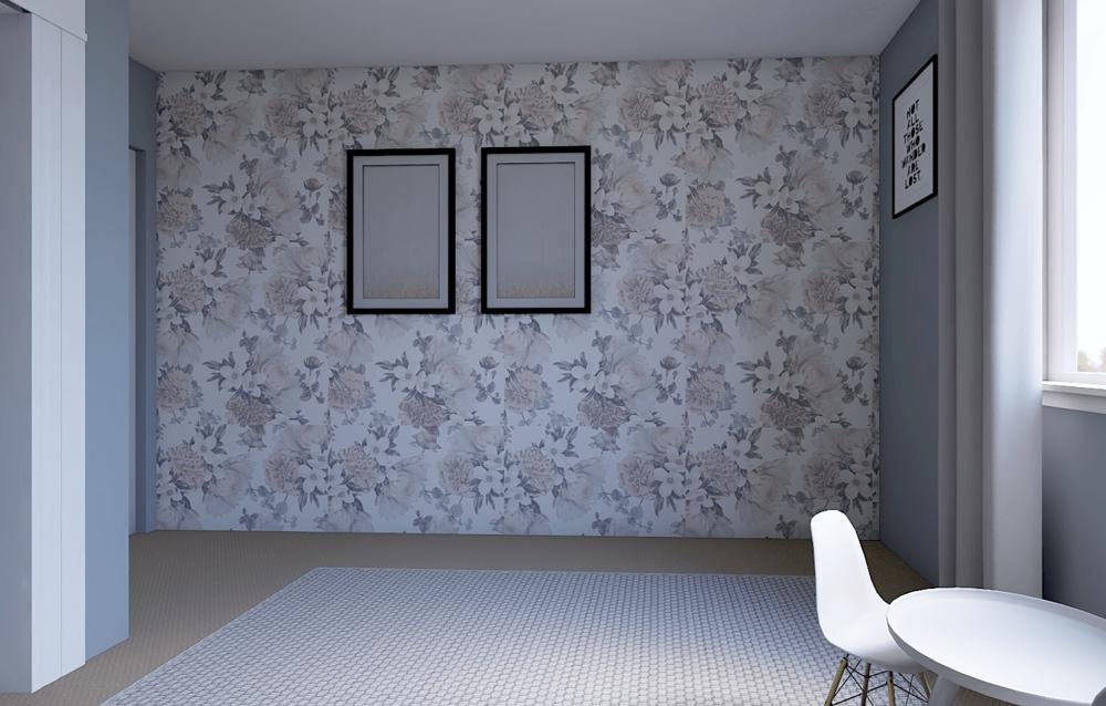 Wallpapered Room Rendering