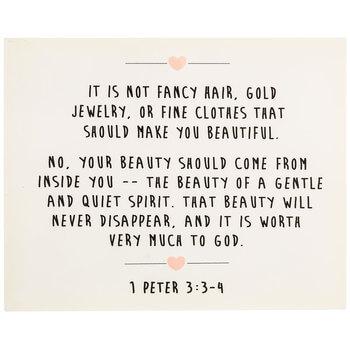 1 Peter 3:3-4 Beauty Wood Wall Decor