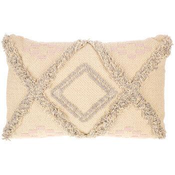 Grey & Blush Boho Textured Diamond Pillow