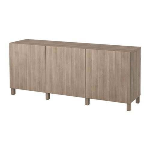 Besta Storage Combination With Doors in Walnut Effect Light Gray | IKEA