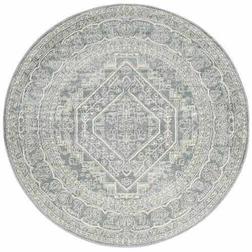 Adirondack Collection Slate and Ivory Oriental Vintage Medallion Round Area Rug | Amazon