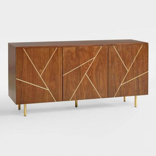 Wood & Metal Inlay Dustin Cabinet   Cost Plus World Market