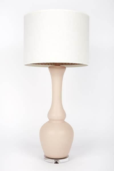 High Point Market || New Product Picks || Gallery Designs Lighting || Oyster Ponce Rose Lining Matte Pale Ceramic Lamp