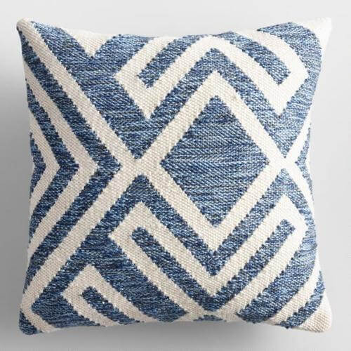 Blue and Ivory Geometric Indoor Outdoor Throw Pillow