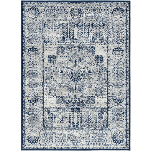 Rich Blue Grey And White Area Rug By Albie Knows Interior Design