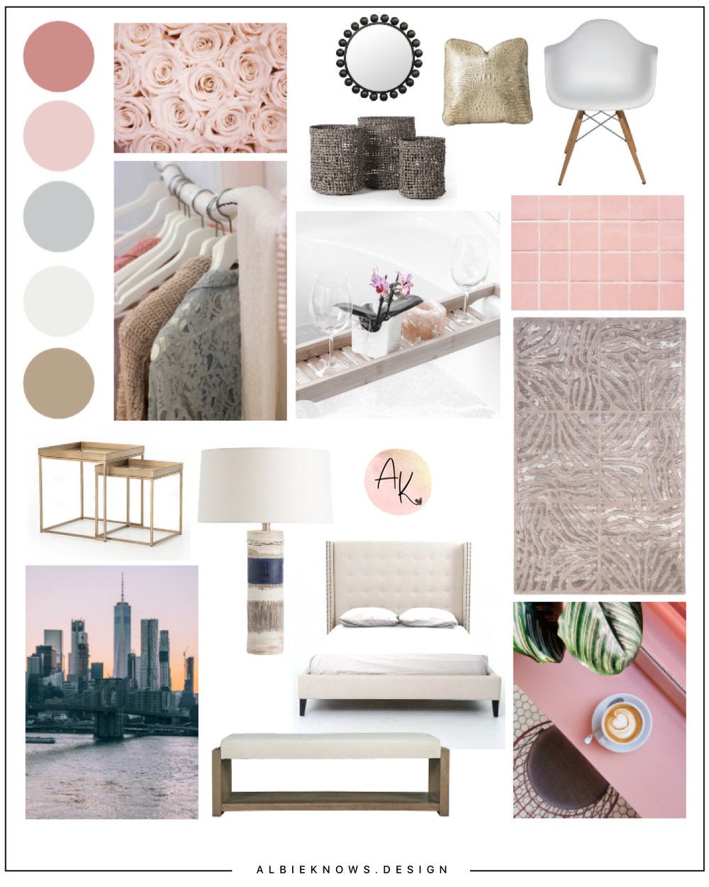 Albie Knows Mood Board | Big Style in A Small Brooklyn Studio