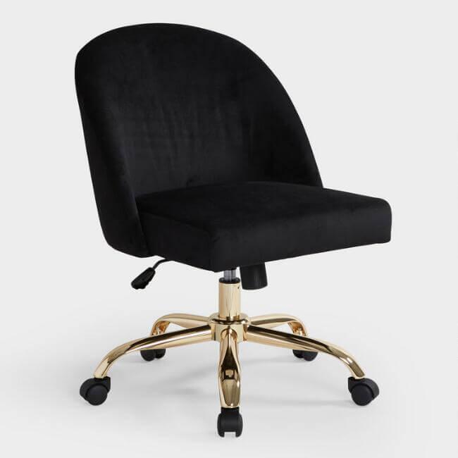 Black Velvet Camela Upholstered Office Chair
