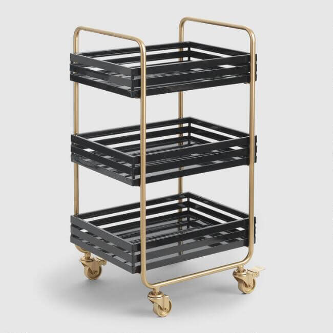 Gold And Black Metal Carson Rolling Cart
