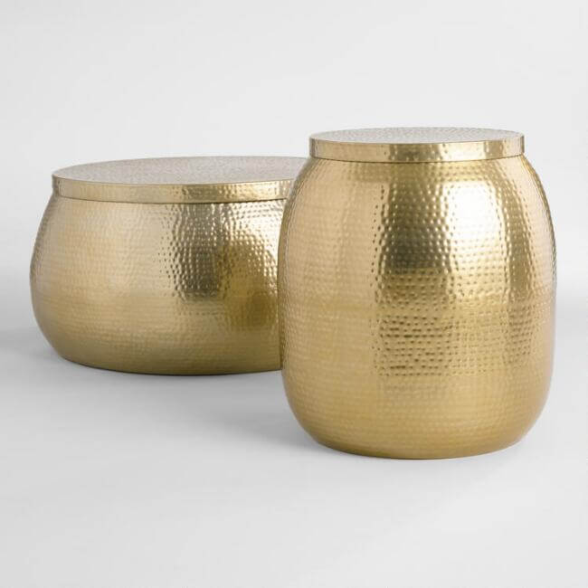 Gold Hammered Metal Cala Accent Table Collection