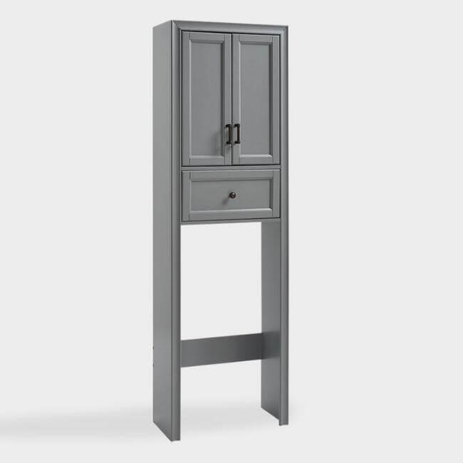 Gray Wood Oden Space Saver Bathroom Cabinet