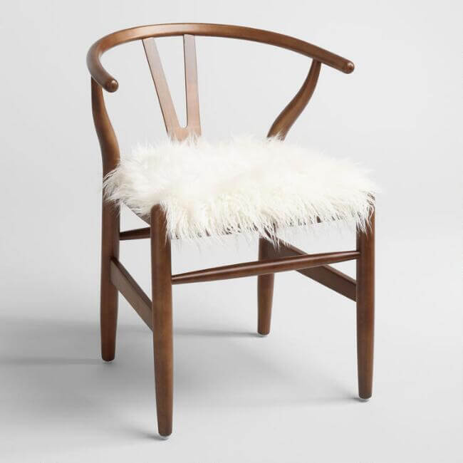 Ivory Flokati Donnan Wishbone Chair