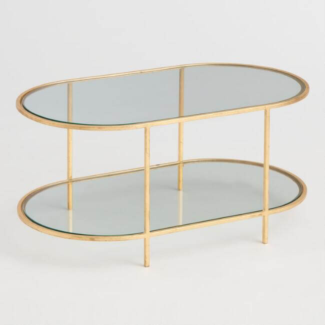 Oval Glass And Gold Leaf Rosalyn Coffee Table