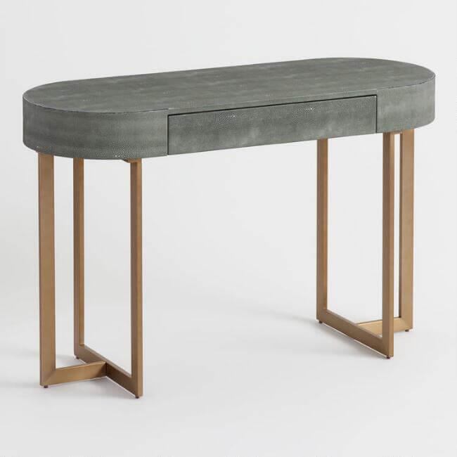 Oval Gray Faux Shagreen Katy Desk