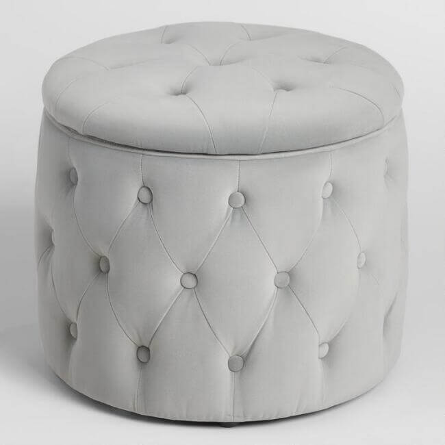 Pastel Tufted Velvet Storage Ottoman