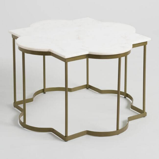 White Marble Arabesque Coffee Table