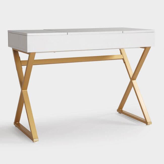 White Wood And Metal Mara Vanity Desk