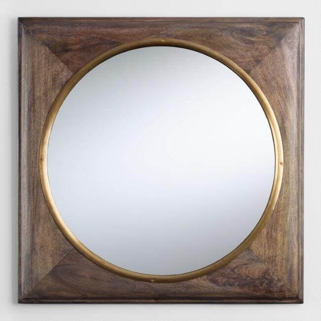 Brass And Wood Inset Wall Mirror