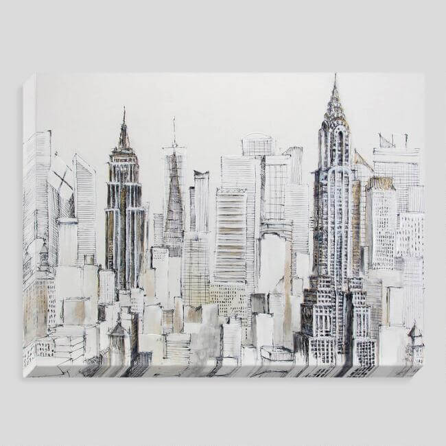 Empire State Building Skyline Canvas Wall Art