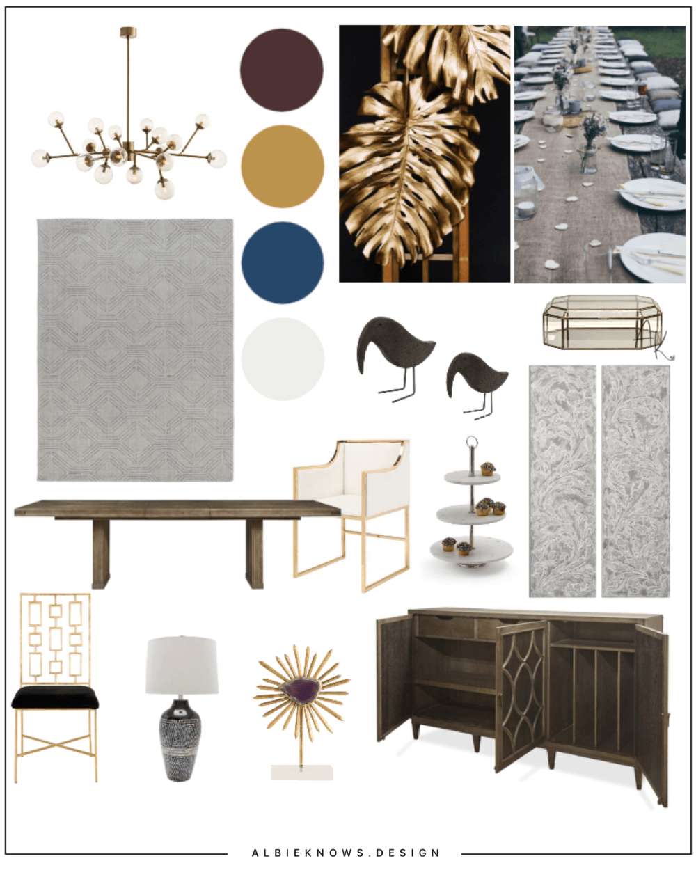 Dramatic Glam Dining Room - A bold design with a balance of modern pieces and textural elements, with a touch of dram — perfect for formal dining.
