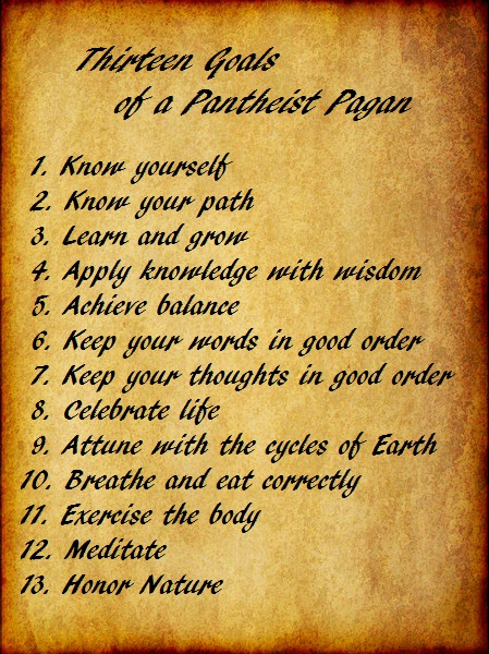 13 Goals of a Pantheist Pagan