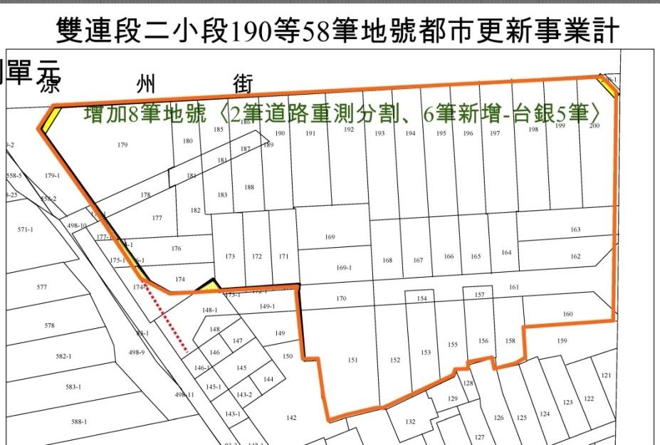 都市更新的現實:道路中心、地籍線、建築線、水利溝渠、畸零地、現有巷道通路以及違規使用等等(上圖為實際案例公告前的調整變更),都需要更大的耐心與不可能100%同意的重新調整。