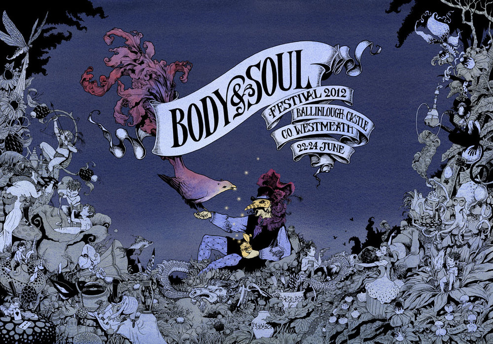 POSTER ARTWORK FOR BODY AND SOUL FESTIVAL 2012 (Night Variation)  Pen and Ink, and Watercolour