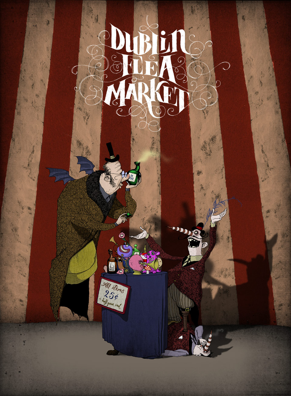DUBLIN FLEA MARKET POSTER ARTWORK Pen and Ink, Digital Colour