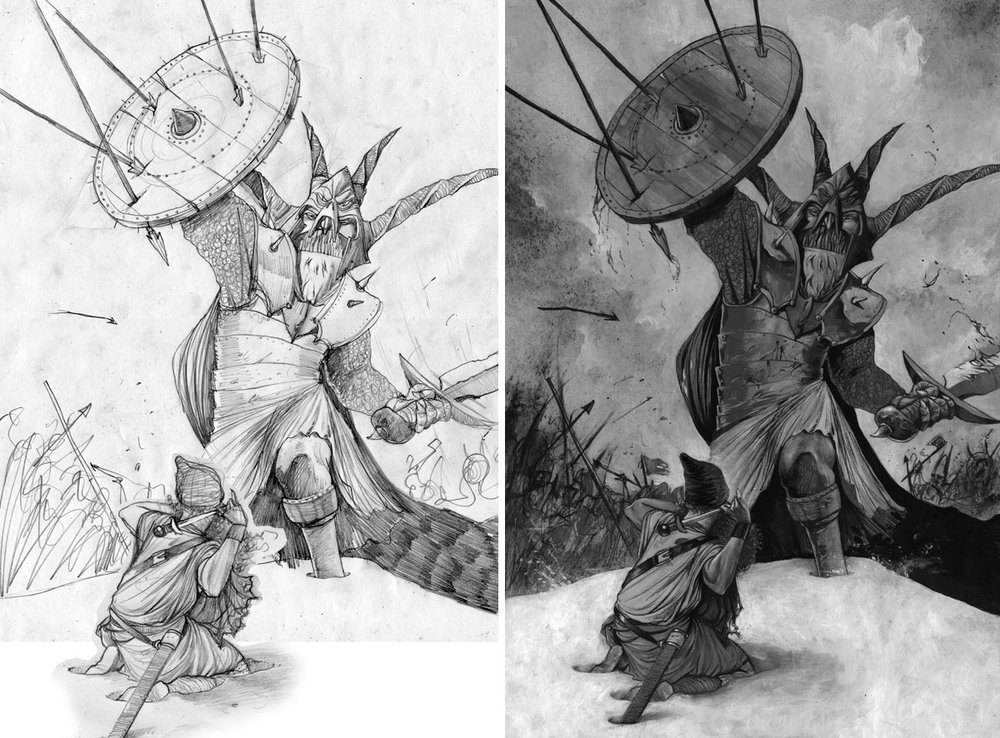 'THE HERO OF DRUMREE' book illustration with sketch on the left.  Sketch: Pencil on Paper   Painting: Acrylic, Spraypaint, Charcoal, Ink