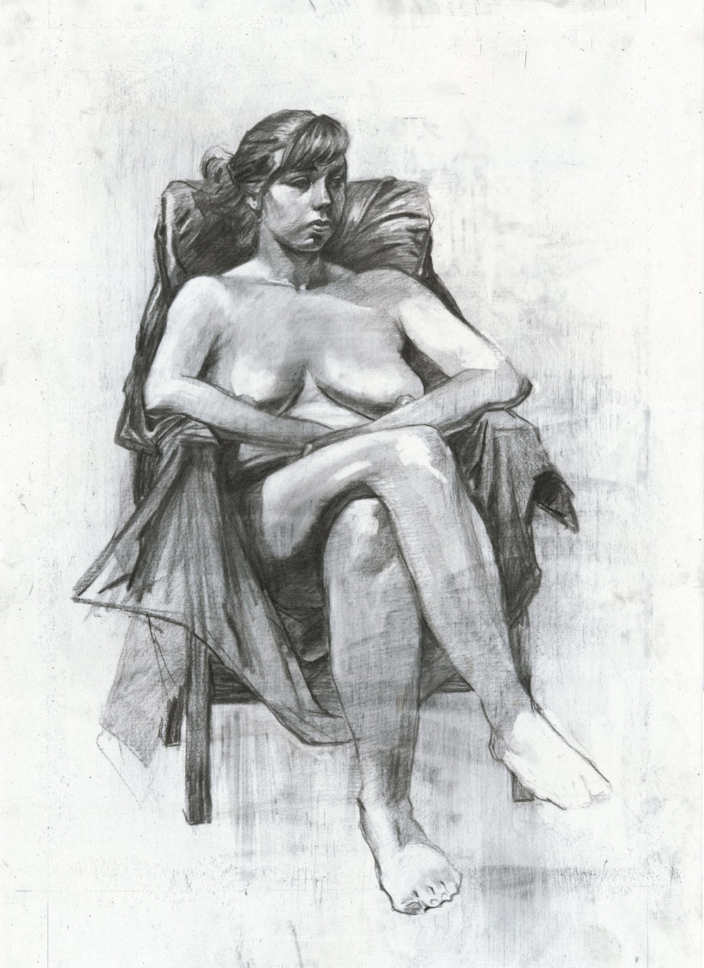 Female Figure Study  Charcoal on Paper