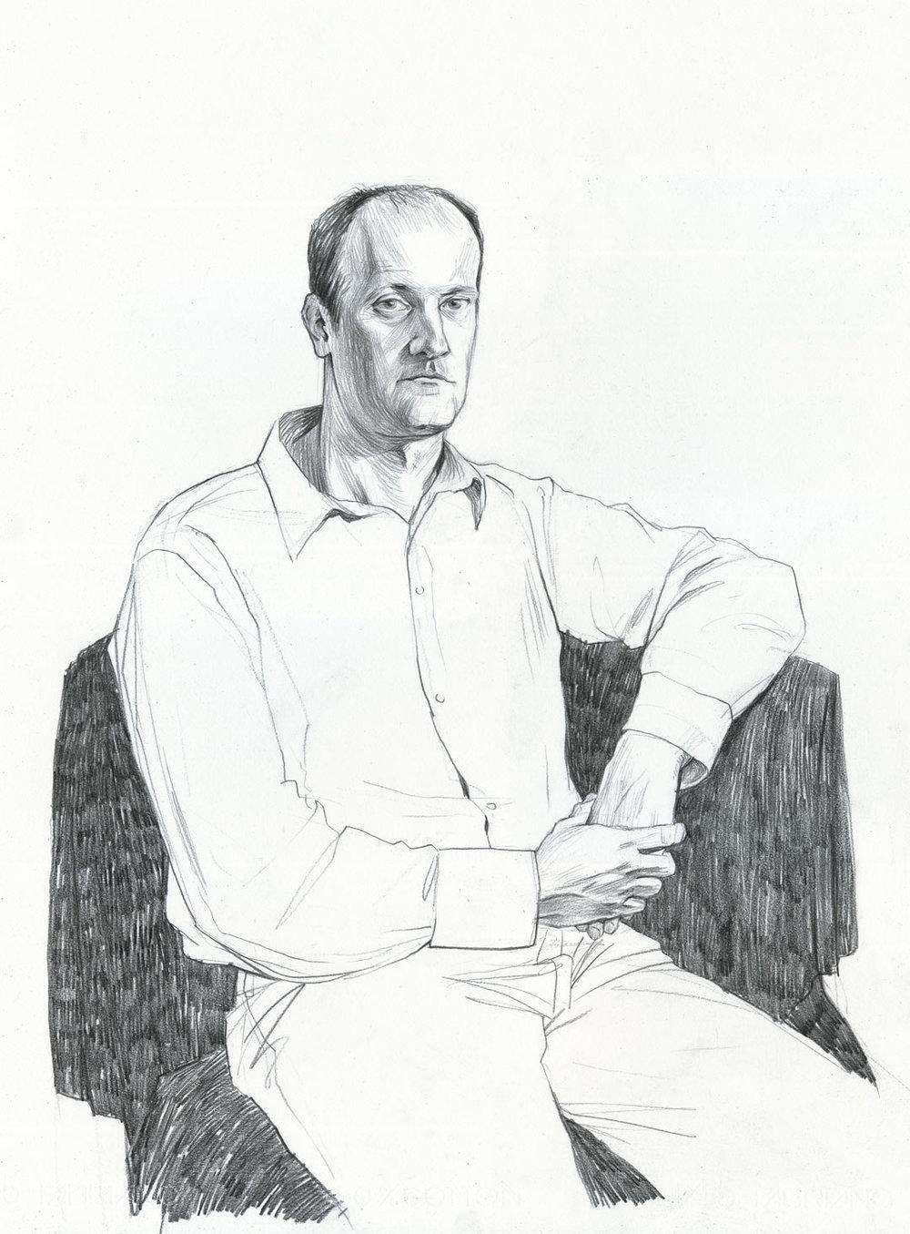 Portrait of P___ R___  Carbon Pencil on Paper