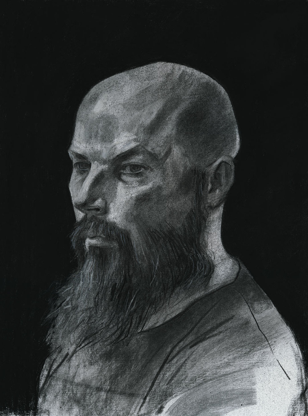 Portrait of P___ D___  Charcoal, Spraypaint, Chalk on Paper