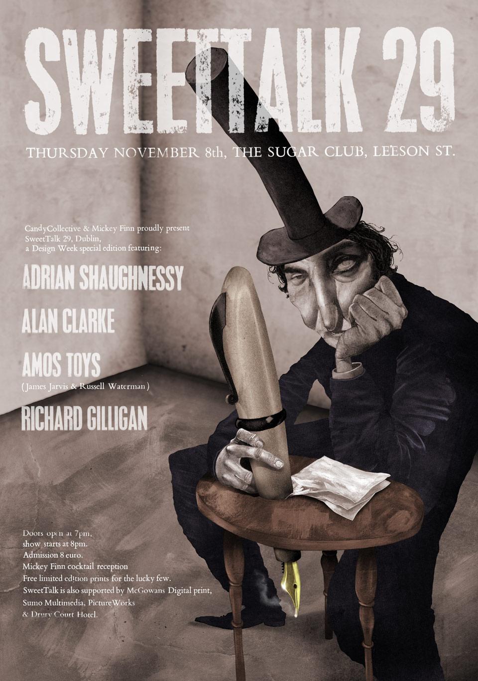 Poster for Sweettalk Design Event  Mixed Media, Digital, Letterpress