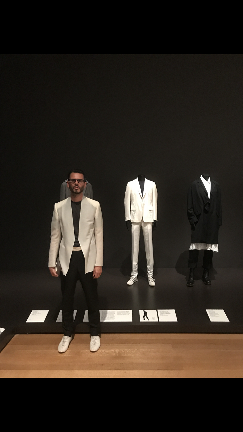 At the opening of the Museum of Modern Art's show September 2017, in the background my original white suit design from unstructured from 2005.