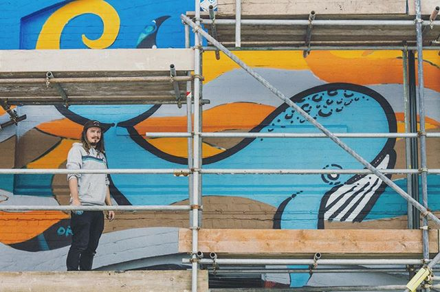 Been filming @lucanart working on his @60mpc mural for @r.a.w_project today and it is looking epic! Can't wait to see it when it's all finished! #realartwins